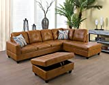 LifeStyle Furniture Sectional Sofa Set, Faux Leather Couch with Chaise Longue, Storage Ottoman, 2 Accent Pillows, Right Hand Facing, Ginger