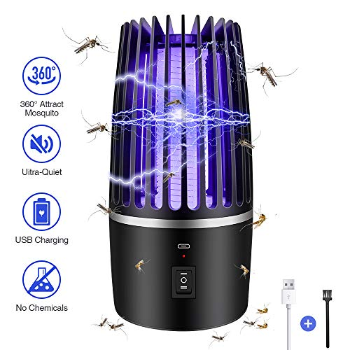 Insektenvernichter Elektrisch, 2-In-1 Mückenlampe Campinglampe mit USB Wiederaufladbarer Akku, Drinnen draußen Mückenkiller Campinglaterne, mückenfalle 365 Nanometer UV-Licht Insektenabwehr