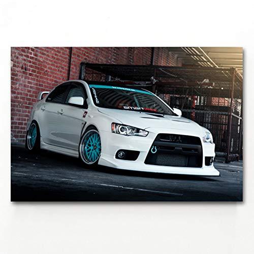QAZEDC Dekorative Malerei Evolution Evo Car Tuning weiße Autos Fahrzeug Poster Leinwand Kunstdrucke Wandkunst Gemälde Für Wohnzimmer Dekor