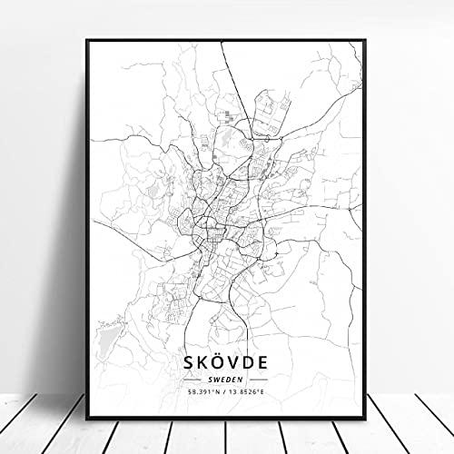 Falun Varberg Skovde Uddevalla Norrkoping Boras Sweden Canvas Art Map Poster ?ZW-479? Ingen ram poster 40x60cm