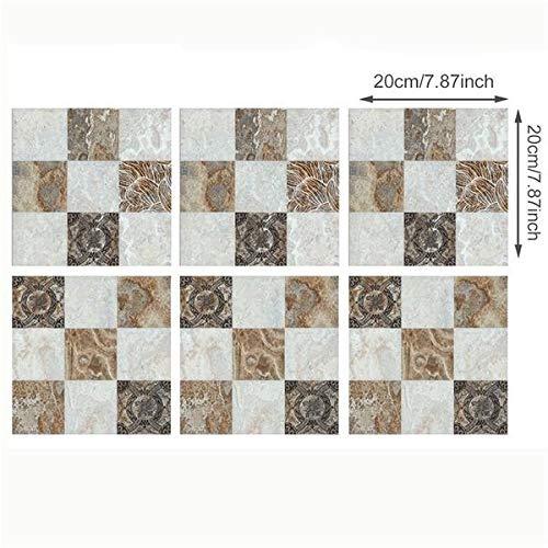 Leileixiao 20 x 20 cm x 6 piezas Europa retro mármol patrón azulejos pared azulejos cocina baño azulejos impermeable cartel vinilo pegatinas (color: CZ90)