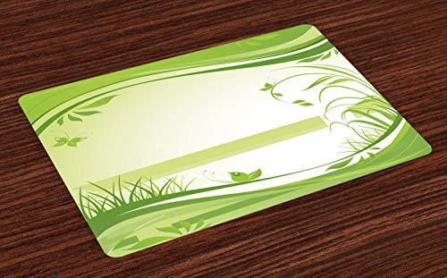 ABAKUHAUS Groen Placemat Set van 4, Abstract Fresh Nature, Wasbare Stoffen Placemat voor Eettafel, Apple Green Fern Green