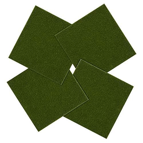 LIHAO 4X Fake Moos Gras Künstliche Rasen Mini für Garten Landschaft Deko DIY Puppenhaus Mini Fairy Ornament, grün (15,5 x 15,5 cm)