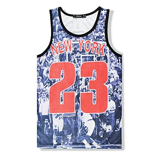 Mikelabo Camiseta de compresión para hombre, de algodón, para baloncesto azul M