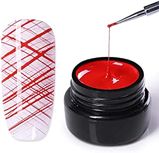 NICOLE DIARY Spider Nail Gel Creative Wire Drawing Nail Gel Lacquer Point To Line Painting Gel Polish Pulling Silk Spider Nail (Red)