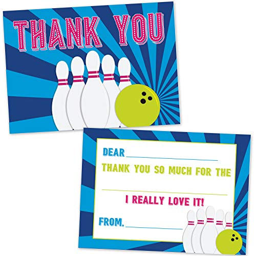 Bowling Fill in The Blank Thank You Cards for Kids (20 Count with Envelopes) - Bowling Party Supplies for Boys and Girls - Cosmic Neon Bowling Thank You Notes