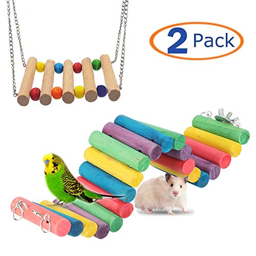 Suspension Bridge for Hamster Rainbow Bridge Flexible Rat Climbing Ladders Wood Swing Toy Cage Accessories for Small Animal Guinea Pig Chinchilla Chipmunk Sugar Glider Gerbil Mice Squirrel (Colored)