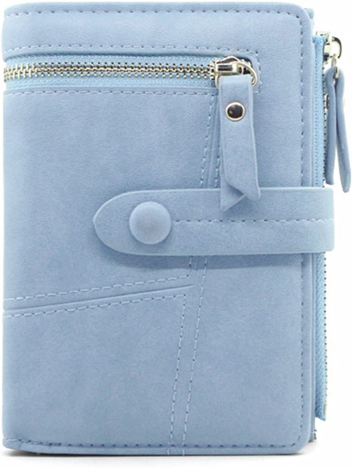 Women Leather Wallet With ID Window Card Holder Girls Coin Purse with Snap Closure