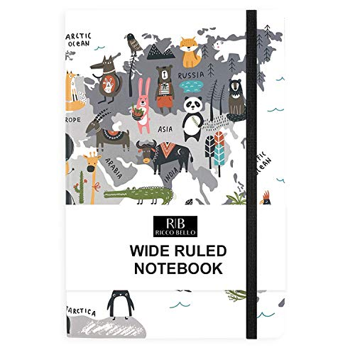 Ricco Bello Wide Ruled Hardcover Journal Notebook - Cute Animal Map Design Diary with Band Closure, Ribbon Bookmark, 5.7 x 8.4 Inches,192 Pages, (Animal World)