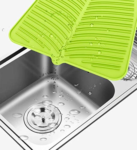 """Silicone Dish Drying Mat, Malsipree Large 16""""X14"""" Dish Mat for Kitchen, Heat Resistant Countertop Protection Trivet, Non Slip Dish Draining Mat, BPA Free, Dish Washer Safe (Gray)"""