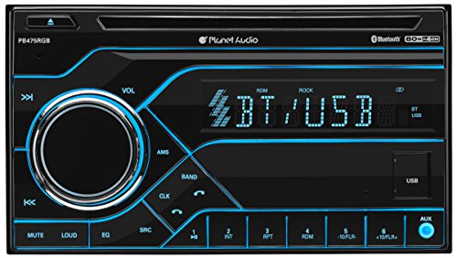 Planet Audio PB475RGB Car Stereo - Double Din, Bluetooth Audio and Hands-Free Calling, MP3 Player, CD, USB, AUX In, AM/FM Radio Receiver, Multi Color Illumination