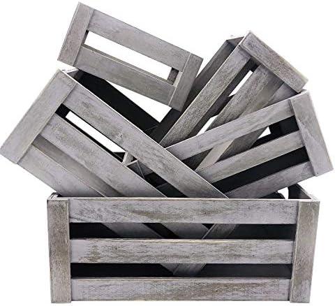 KMwares Set of 5 Vintage Rustic White Grey Wood Decorative Nesting Storage Crates with Open product image
