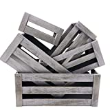 KMwares Set of 5 Vintage Rustic White Grey Wood Decorative Nesting Storage Crates with Open Handles - Multipurpose Wood Crafted Boxes/Bathroom Kitchen,Laundry Crates/Fruits & Vegetables Boxes
