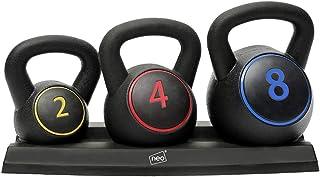 Neo - Set di 3 pesi per Kettlebell da 3 pezzi, per esercizi di casa, palestra, 2, 4, 8 kg