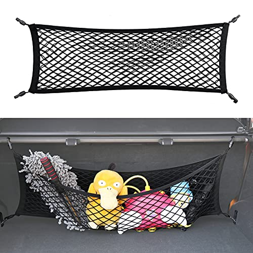 Double-Layer Trunk Cargo Elastic Net, 35'x11' Stretch to 65'x25' for Car Organizer Heavy Duty with Hooks