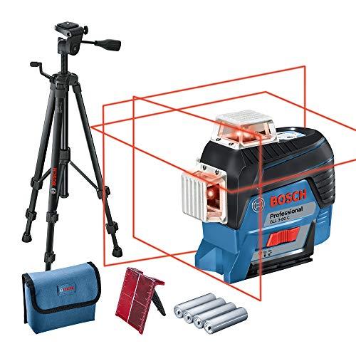 Bosch Professional Linienlaser GLL 3-80 C (m. App-Funktion, roter Laser, max. Arbeitsbereich: 30 m, 4x AA Batterie, Tasche, Stativ BT 150, in Karton)