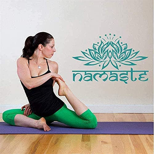 Etiqueta engomada del arte de la pared calcomanía de vinilo para pared Yoga Lotus Yoga Hola estilo Mandala Buda símbolo cita pegatina 42 * 29 cm