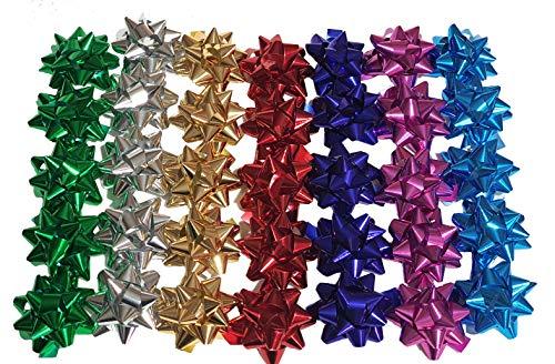 100 Pezzi Stelle Stelline Decorative Pacco Regalo Confezione DIAM. 5 CM Misti 7 Colori