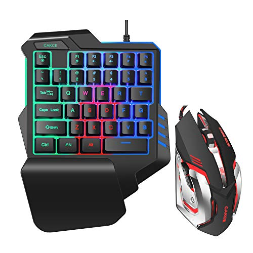 One Hand RGB Gaming Keyboard and Mouse Combo,USB Wired Gaming Keyboard with Wrist Rest and Backlit Gaming Mouse for Gaming,Ergonomic Mechanical Feeling Game Keyboard and Mouse