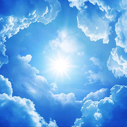 Hd Print Poster Picture 3D Stereo Deckentapete Tapete Blauer Himmel und Weiße Wolken Fresko 350cmx256cm