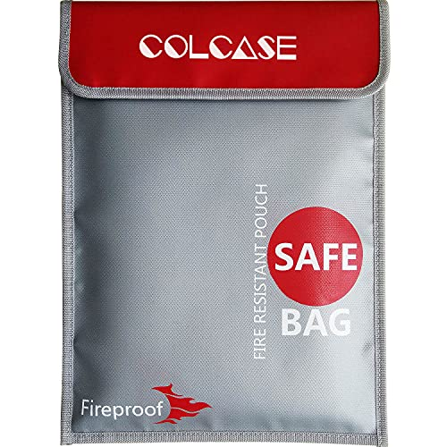 COLCASE Fireproof Document Bag 15 x 11 Inches Non-Itchy Silicone Coated Fire Resistant Bag Fireproof...