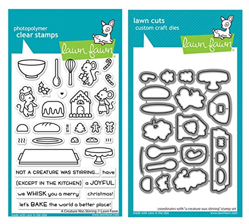 Lawn Fawn A Creature was Stirring 4x6 Clear Stamp Set and Coordinating Die Set (LF2415, LF2416), Bundle of 2 Items