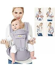 Viedouce Babybärare ergonomisk med höftsits/ren bomull lätt och andningsbar/multiposition: Doral, ventral, justerbar för nyfödda och småbarn 3 till 48 månader (3,5 till 20 kg)