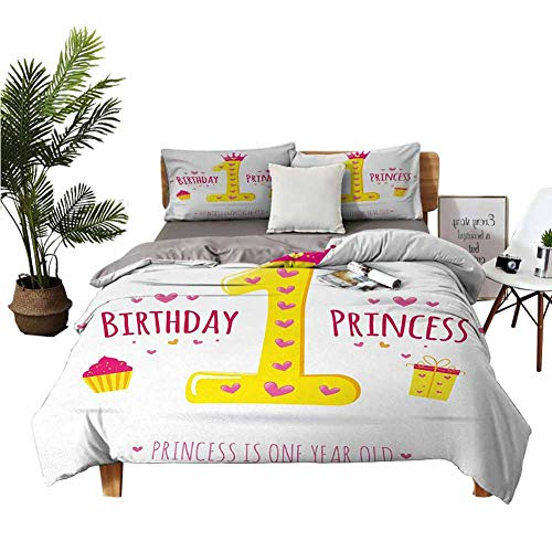 Affordable Crib Sheets 1st Birthday Three-Piece Bedding Quote Design with Sweet Princess Girl Theme ...