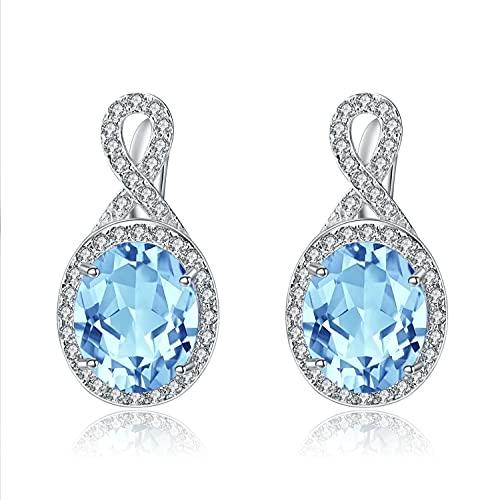 Pendientes de piedra natural pendientes europeos y americanos pendientes de plata retro s925 pendientes de piedras preciosas de topacio azul cielo