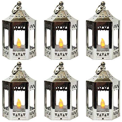 6pc Mini Silver Candle Lanterns with Flickering LED Tea Light Candle, Batteries Included