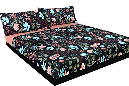 Bettwäsche-Set, Blumenmuster, Schwarz und Rosa, Grau, 100 % Baumwolle, Helgiene, für Betten von 160 x 190/200 cm