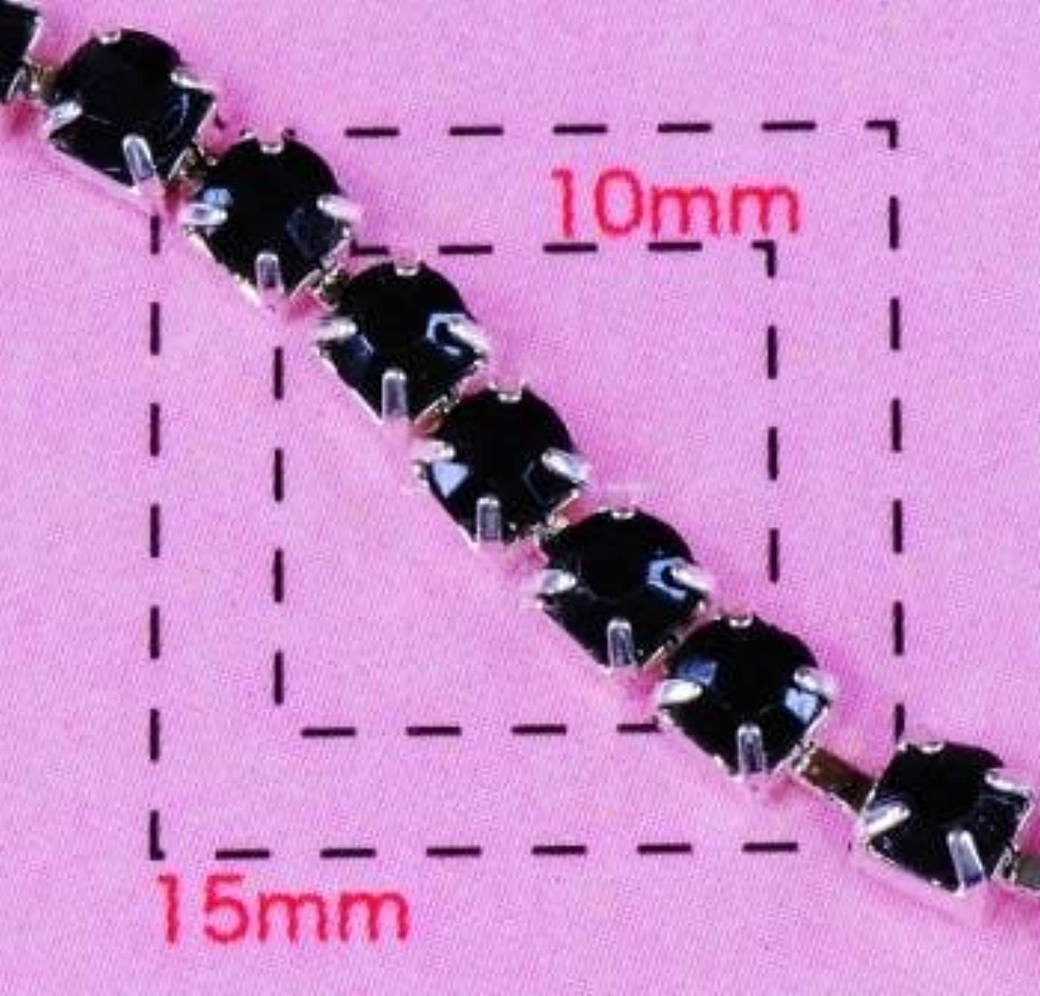 ティーム貝殻十一ブラックダイヤレーン3ミリSV《ネイル?デコ電用メタル&プラパーツ》 20cm