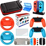 Accessories Kit for Nintendo Switch Games Bundle Wheel Grip Caps Carrying Case Screen Protector Controller (17 In 1)
