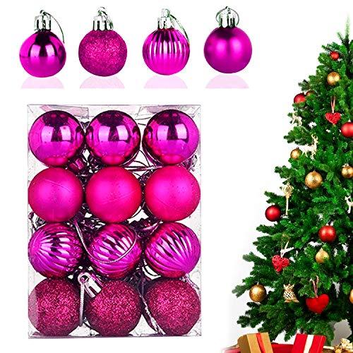 WELLXUNK® Palline di Natale, 24pcs Albero di Natale Palla Decorazioni, Palline di Natale Opache, Palline di Natale Infrangibili, Palle infrangibili per Decorazioni Natalizie da Appendere (Rosa Rossa)