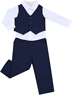 Baby Boys Gentleman Tuxedo Suit Wedding Formal Party Outfit White Dress Shirts with Pants Vest Set