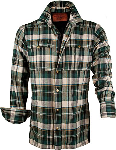 King Kerosin SPEEDSHIRT - Kevlar - Cream-Green Check L