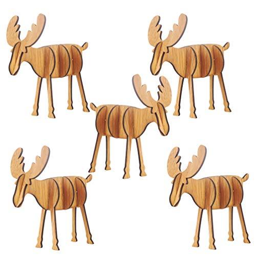 Amosfun 5 Stücke Holz Rentier Figur Hirsch Elch Dekofigur Tierfigur Weihnachtsfiguren Weihnachtsdeko Weihnachten Dekoration Xmas Party Deko Kinder DIY 3D Holzpuzzle