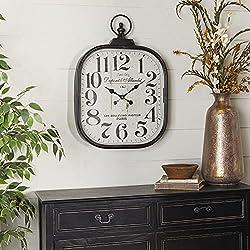 Deco 79 52560 Metal Glass Wall Clock, 18 x 26