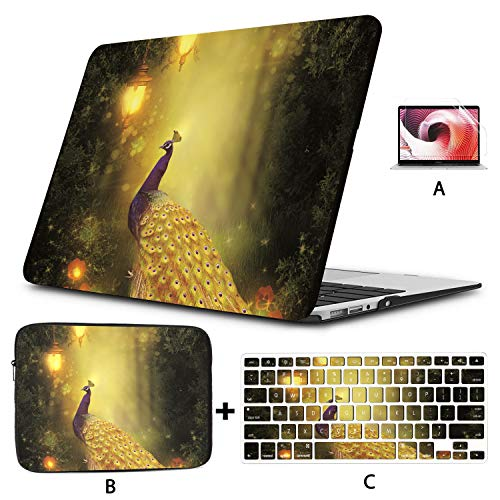 MacBook Pro 2017 Cover Peacock in Forest Under Golden Street Lamp Cover MacBook Air Hard Shell Mac Air 11'/13' Pro 13'/15'/16' with Notebook Sleeve Bag for MacBook 2008-2020 Version
