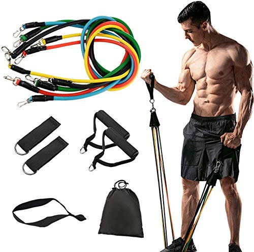 11 Pack Resistance Bands Set, Including 5 Stackable Exercise Bands with Door Anchor,2 Foam Handle,2 Metal Foot Ring and Carrying Case for Physical Therapy, Resistance Training, Home Workouts,Yoga