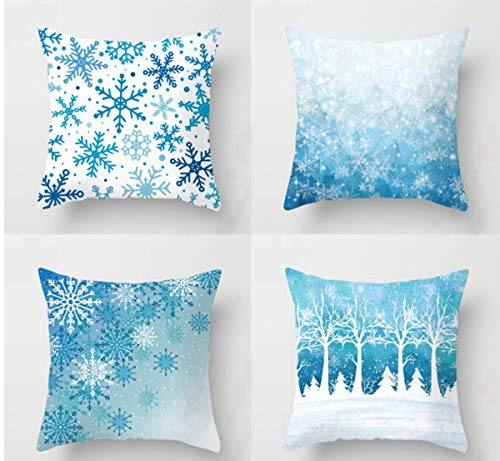 Emvency Set of 4 Throw Pillow Covers 18x18 Inches Decorative Cushion Merry Christmas Blue Snow Winter with Snowflakes Falling White Crystal Forest Polyester Pillow Cases Square Pillocases for Bed Sofa