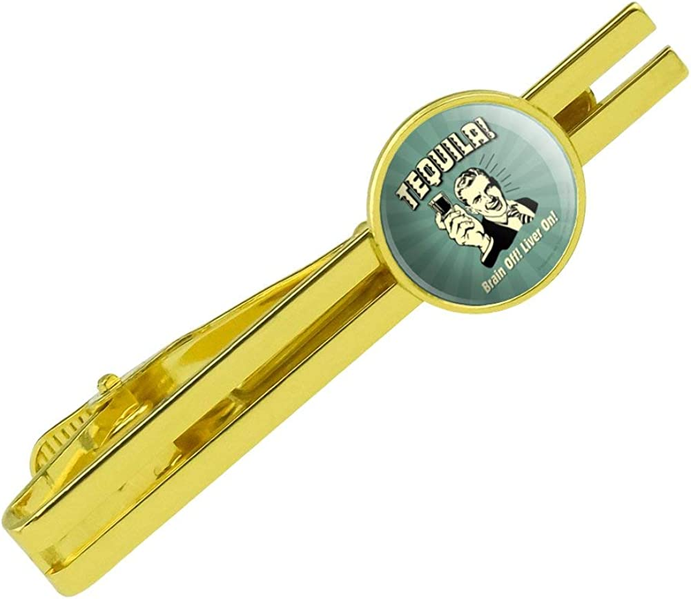 GRAPHICS & MORE Tequila Brain Off Liver On Funny Humor Retro Round Tie Bar Clip Clasp Tack Gold Color Plated