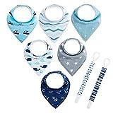 6pcs Lätzchen Dreieckstuch mit 2 Schnullerband Baby Halstuch Spucktuch mit Schnullerketten, Unisex Bio-Baumwolle Halstücher Lätzchen mit Druckknöpfen für Mädchen jungen Babys von Future Founder