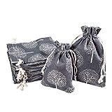 PandaHall Elite - 20 bolsas de embalaje de tela de 2 tamaños, reutilizables, bolsas de comestibles, bolsas de viaje para caramelos, bodas, fiestas, regalos rectangulares con árbol de la vida