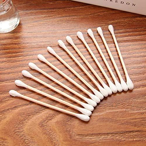 Color Yun 100 pièces Coton-Tige Manche en Bois Double tête bâtons Maquillage bâton de Coton-Tige (Bois)