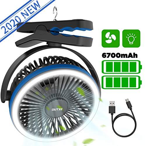 OUTXE Camping Ventilator mit licht 6700mAh Zelte Ventilator USB Ventilator mit Wiederaufladbarer Batterie