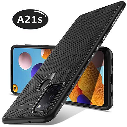 Luibor Funda para Samsung A21S,Absorción de Golpes Anti-Rasguños Suave Esmerilado Funda Protectora para Negro Mate para Samsung A21S