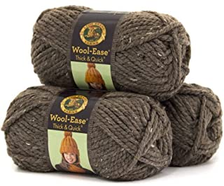 Lion Brand Wool Ease Thick and Quick Yarn, Pack of 3 (Barley)