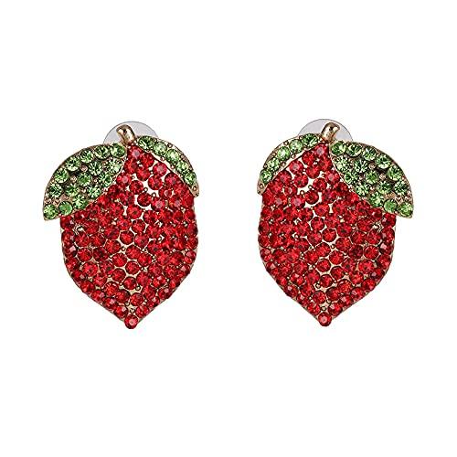Pendientes de botón de cristal con diamantes de imitación completos exagerados y bonitos para mujer, joyería de boda elegante