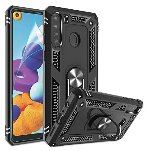 Samsung Galaxy A21 Case with HD Screen Protector, Gritup [Military Grade] Rotating Metal Ring Kickstand Designed Cover Defender Protective Phone Case for Samsung Galaxy A21 (US Version) Black